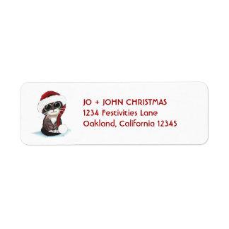 Christmas Kitten Wearing Santa Hat Return Address Return Address Label