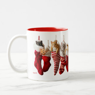 Christmas Kittens in Stockings Two-Tone Coffee Mug