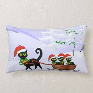 Christmas Kittens Lumbar Pillow