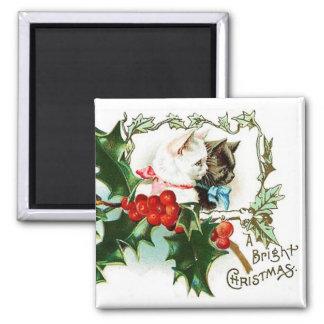 Christmas Kittens Vintage Magnet