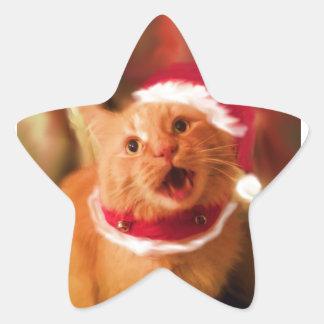 Christmas Kitties 1 Star Sticker