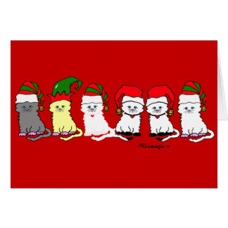 Christmas Kitties In A Row Greeting Card