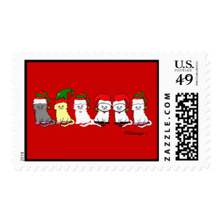 Christmas Kitties In A Row Postage