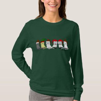 Christmas Kitties In A Row Womens'  T-Shirt