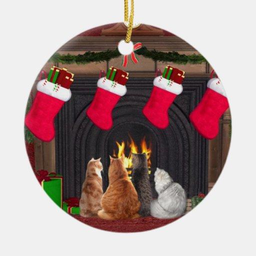 Christmas kitties Double-Sided ceramic round christmas ornament
