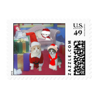 Christmas Kitties Postage Stamps