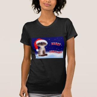 Christmas Kitty Black T-Shirt for Women