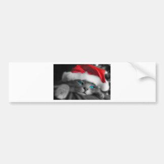 Christmas Kitty, Blue eyes Bumper Sticker