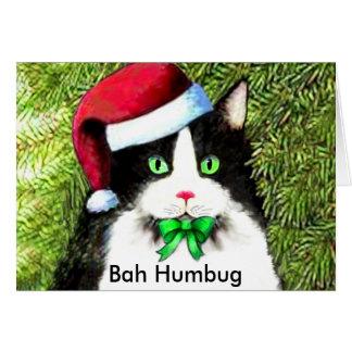 Christmas Kitty Cat Bah Humbug Greetings Greeting Card