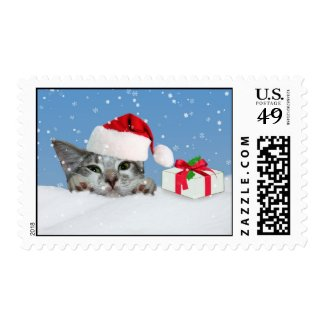 Christmas Kitty Cat in Santa Hat Stamp