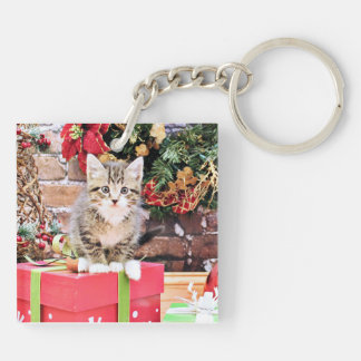 Christmas - Kitty Cat - Monki Double-Sided Square Acrylic Keychain