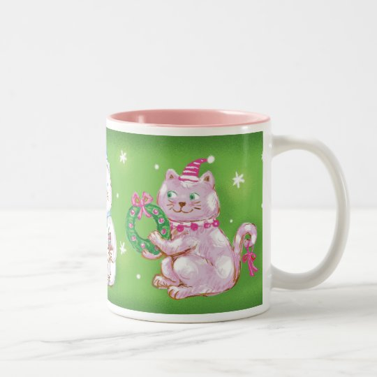 Christmas Kitty Cat Mug! Two-Tone Coffee Mug