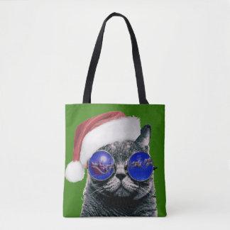 Christmas Kitty Cat Tote Bag