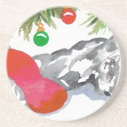 Christmas Kitty Cat Tree Decorations Holiday Beverage Coasters