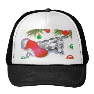 Christmas Kitty Cat Tree Decorations Holiday Mesh Hats