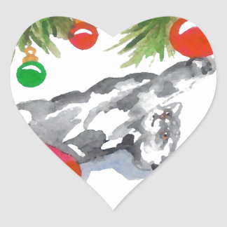 Christmas Kitty Cat Tree Holiday Heart Stickers