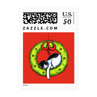 Christmas Kitty Cat Wreath Postage
