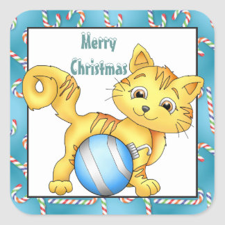 Christmas Kitty Holiday greeting sticker