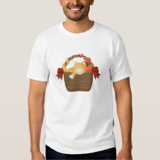 Christmas Kitty In A Basket T-Shirt