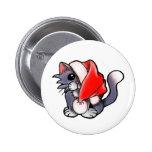 Christmas kitty pinback button
