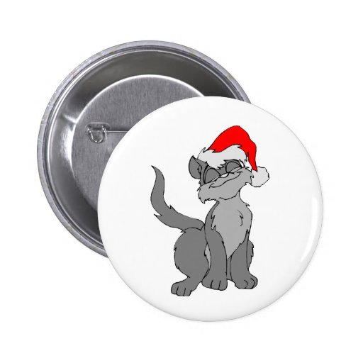 Christmas Kitty Pinback Buttons