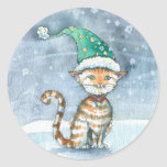 Christmas Kitty Stickers Orange Tabby