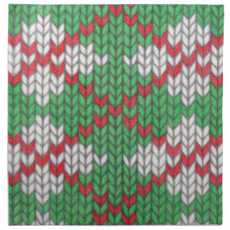 Christmas Knit Argyle Cloth Dinner Napkins (4)