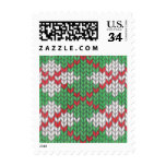 Christmas Knit Argyle Postcard Stamps
