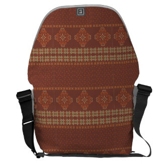 Christmas knitted pattern courier bag