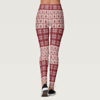 Christmas Knitted Sweater Look Tree Snowflakes Leggings