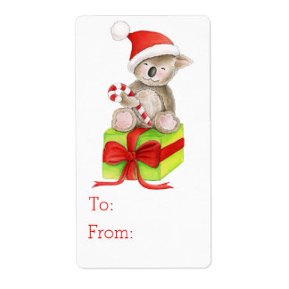 Christmas Koala art gift tag (to and from) Label