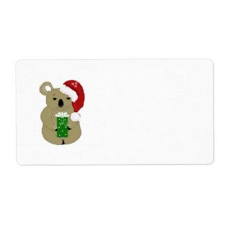 Christmas Koala Bear Label