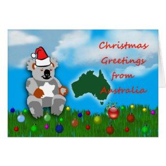 Christmas koala marsupial Australian Christmas Greeting Cards