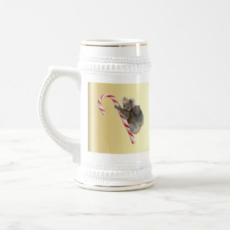 Christmas Koalas on Candy Cane Beer Stein