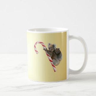 Christmas Koalas on Candy Cane Coffee Mug