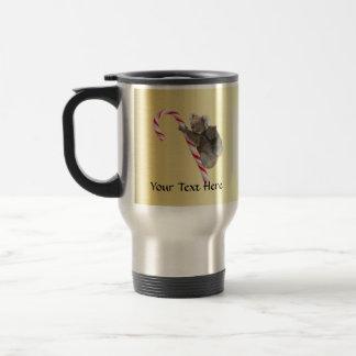 Christmas Koalas on Candy Cane 15 Oz Stainless Steel Travel Mug