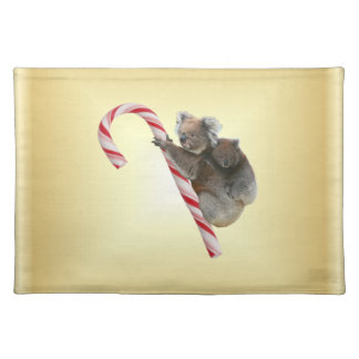 Christmas Koalas on Candy Cane Cloth Placemat