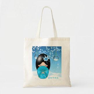 Christmas Kokeshi Doll Budget Tote Budget Tote Bag