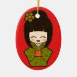 Christmas Kokeshi Double-Sided Oval Ceramic Christmas Ornament