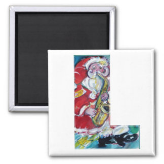 CHRISTMAS L LETTER /SANTA AND SAX MONOGRAM 2 INCH SQUARE MAGNET