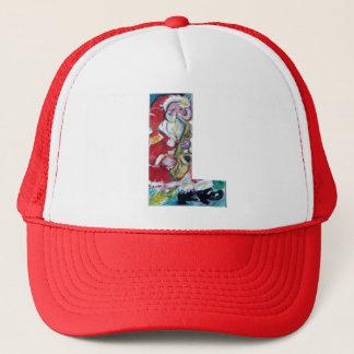 CHRISTMAS L LETTER /SANTA AND SAX MONOGRAM TRUCKER HAT