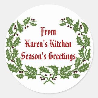 Christmas  Label  Season's Greetings baking, food Classic Round Sticker