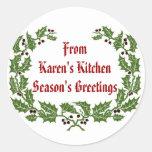 Christmas  Label  Season's Greetings baking, food Round Stickers