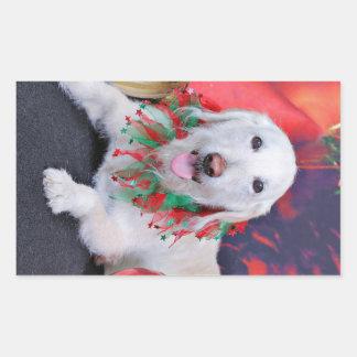 Christmas - LabraDoodle - Izzy Rectangular Stickers