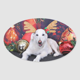Christmas - LabraDoodle - Izzy Oval Sticker