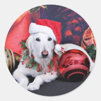 Christmas - LabraDoodle - Izzy Round Sticker