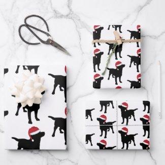 Christmas Labrador Black Dog In Santa Hat Wrapping Paper Sheets
