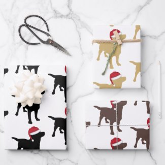 Christmas Labrador Black Yellow And Chocolate Wrapping Paper Sheets