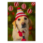 Christmas Labrador card, dog in knit hat