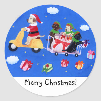 Christmas Labrador Delivery Painting Classic Round Sticker